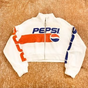 Pepsi Cropped Zip Up Sweatshirt